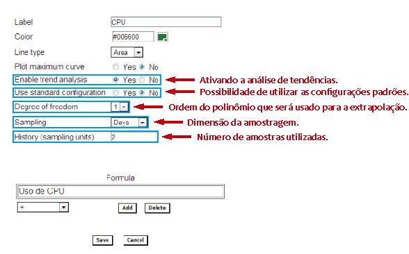 Figura 1: Ativação da análise de tendências no SLAview.
