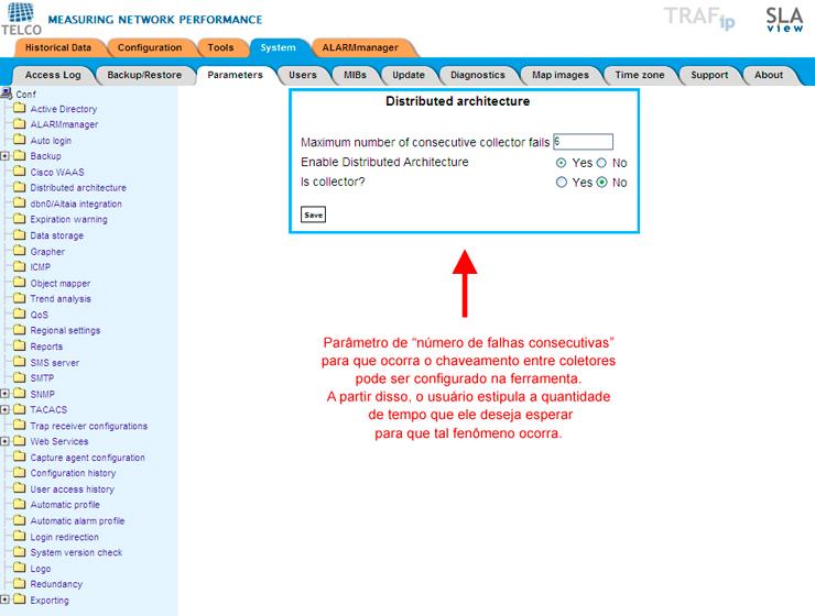 Figura 5: Configuração do tempo esperado até que haja o chaveamento entre coletores. No caso, é verificado a informação de número de falhas consecutivas no envio de informações pelos coletores. Um coletor pode enviar dados a cada 5 minutos. Neste caso, após 6 falhas consecutivas (que corresponde a 30 minutos), as informações serão chaveadas para um outro coletor.