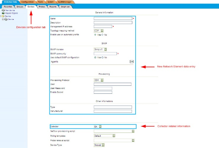 Figure 4: Consolidator view of the Network Element registration table. Collector related information is only displayed when Distributed Architecture is enabled.