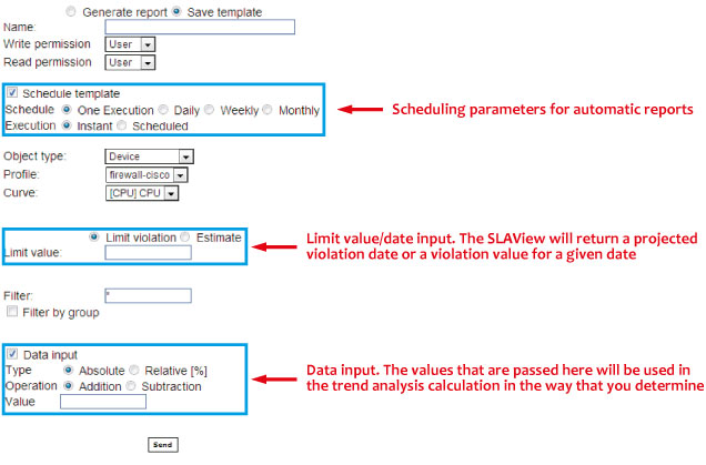 Figure 5: Template configuration for Trend Analysis reports