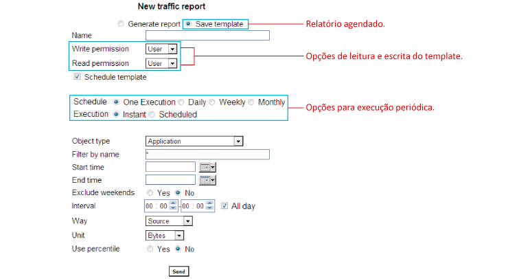 Figure 4: Options for scheduling a report using TRAFip.