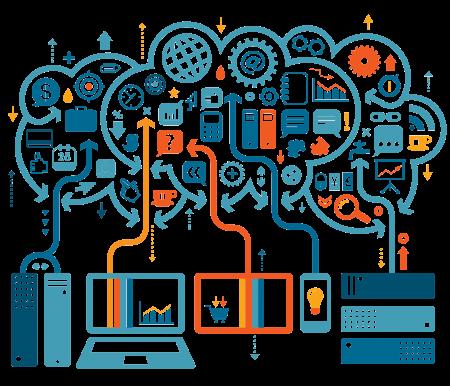 Ilustração que retrata a quantidade de aplicações e dados que trafegam, originadas dos mais diversos dispositivos.