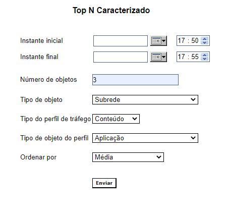 Configuração do relatório Top N Caracterizado