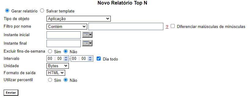 Configuração do relatório Top N