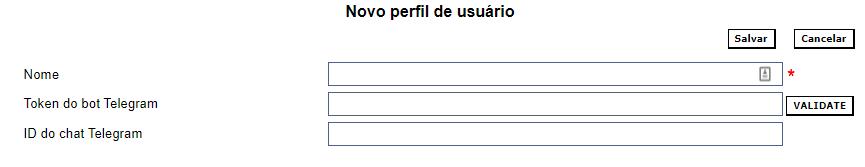 Trecho do formulário de criação de perfil de usuário