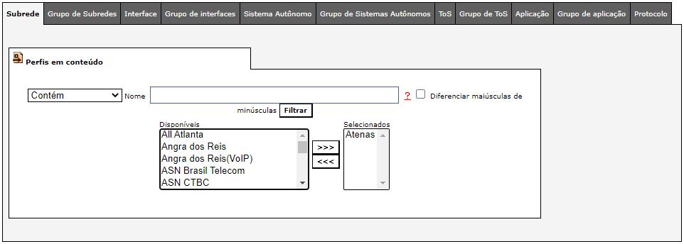Adição das sub-rede onde o perfil será aplicado