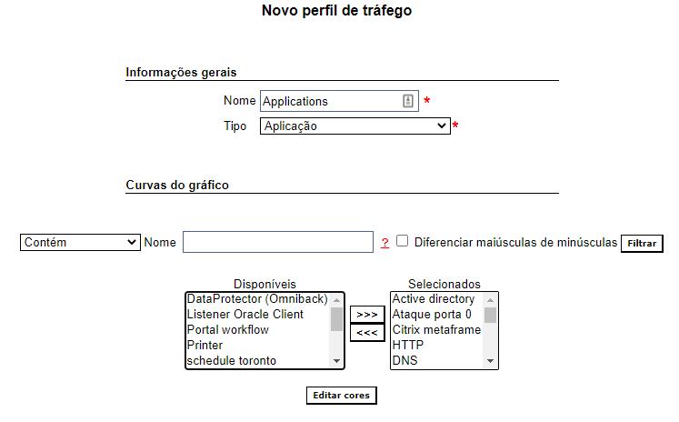 Configuração do tipo, nome do perfil e curvas do gráfico.