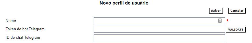 Formulário de criação de perfil de usuário