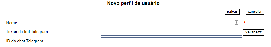 Form for the creation of a user profile