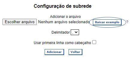 Configuração de importação de sub-redes