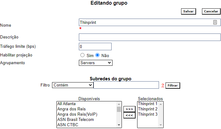 Example of group configuration
