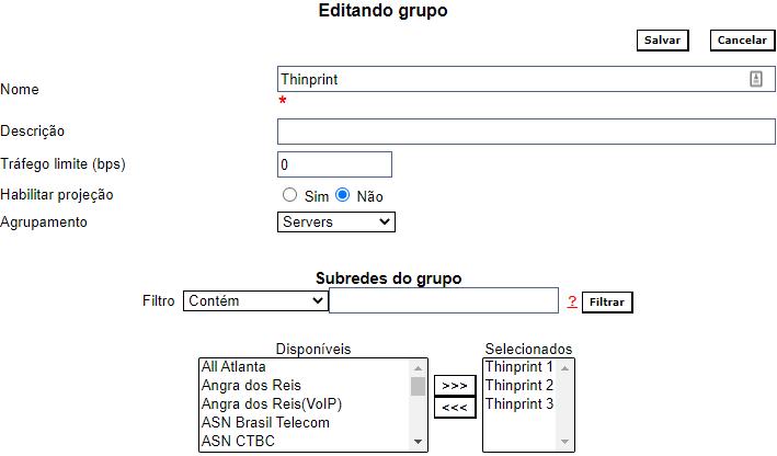 Exemplo de configuração de grupo
